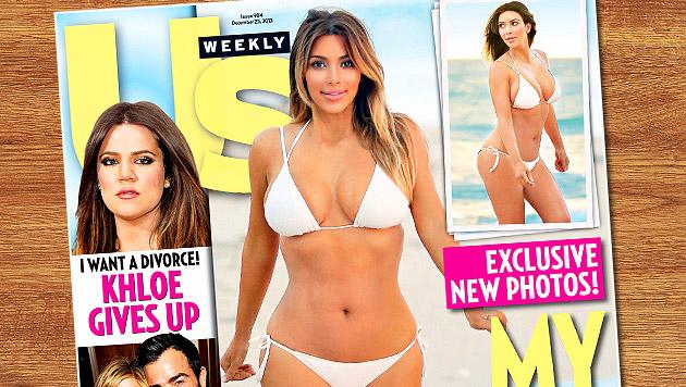 Kim Kardashian zwängt sich in superknappen Bikini (Bild: US Weekly, thinkstockphotos.de, krone.at-Grafik)