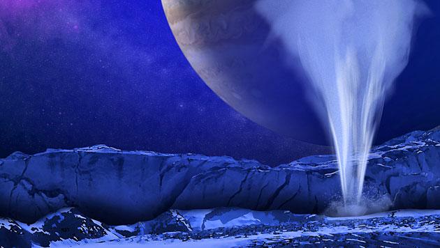 Künstlerische Darstellung der Geysire auf Europa (im Hintergrund der Jupiter) (Bild: NASA/ESA/K. Retherford/SWRI)