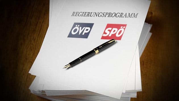 """Das Programm der Regierung im """"Krone""""-Check (Bild: thinkstockphotos.de, krone.at-Grafik)"""