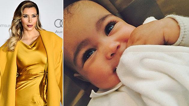 "Kim Kardashian zeigt ihr Mini-Me ""Nori"" (Bild: Instagram, AP)"