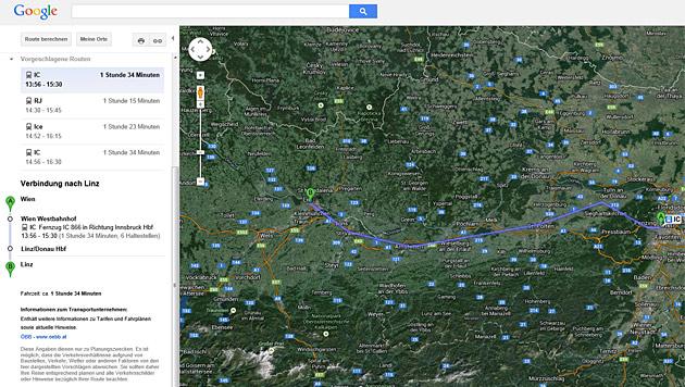 ÖBB-Fahrplan ab sofort auch auf Google Maps (Bild: Google Maps)