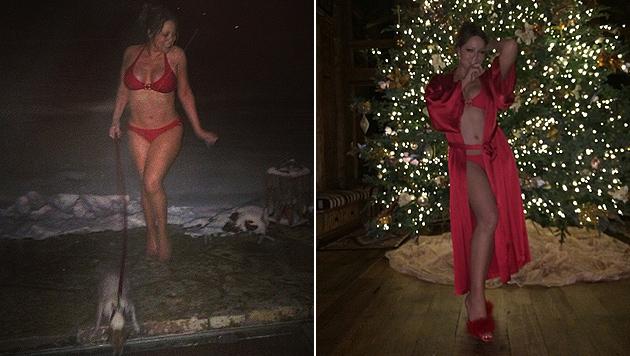 Sehr sexy: Ihre Fans überraschte Mariah Carey mit diesen Bikini-Fotos. (Bild: Instagram)