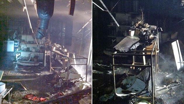 Blumengeschäft in Flammen: Wohnhaus evakuiert (Bild: BF/FF Graz)