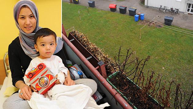 Kleinkind überlebt 8-Meter-Sturz - leicht verletzt (Bild: Markus Wenzel, krone.at-Grafik)