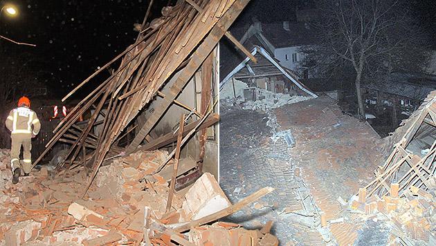 Hausdach bricht über schlafendem Grazer (86) ein (Bild: BF Graz, krone.at-Grafik)