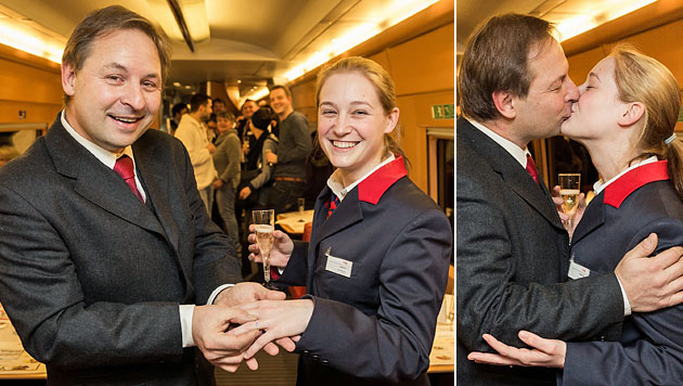 ÖBB-Lokführer macht Kollegin Heiratsantrag im Zug (Bild: APA/ÖBB/MAREK KNOPP)