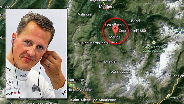 Michael Schumacher ist wieder zu Hause (Bild: Google Maps, APA/EPA/DIEGO AZUBEL, krone.at-Grafik)