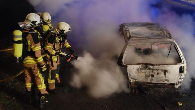 Auto brannte nach Unfall in NÖ komplett aus (Bild: Herbert Wimmer / Pressestelle BFK Mödling)