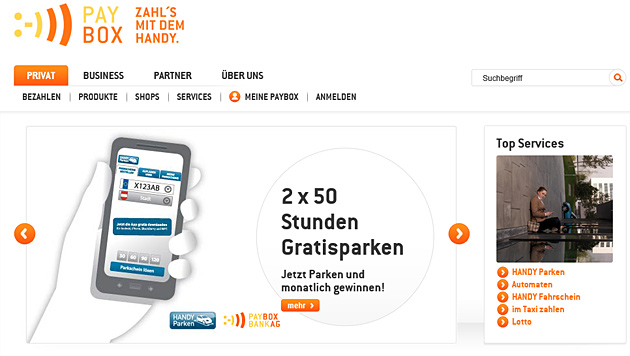 Bezahldienst paybox kämpft weiter mit Problemen (Bild: Screenshot Paybox)