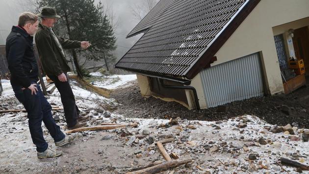 "Mure zerstört Haus: ""Da kam die Suppe herein"" (Bild: Uta Rojsek-Wiedergut)"