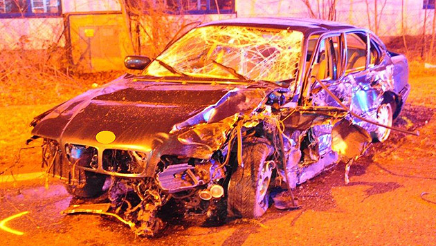 W: Auto prallt gegen Masten und Bäume - Lenker tot (Bild: Polizei)