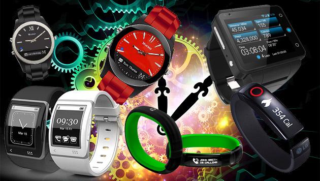 Rasantes Wachstum bei Wearable-Technik erwartet (Bild: thinkstockphotos.de, Hersteller, krone.at-Grafik)