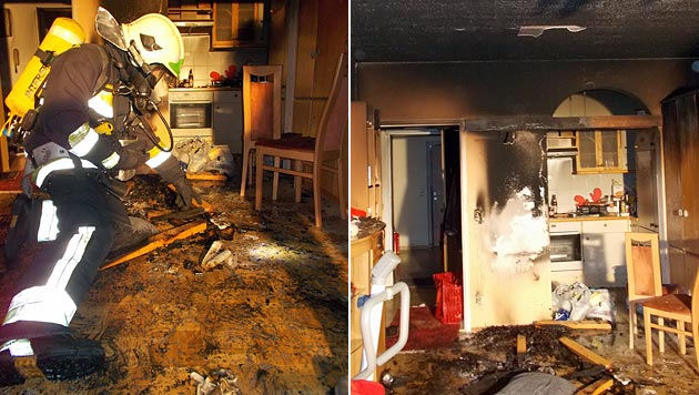 Kerzen entfachten Wohnungsbrand in Kärnten (Bild: Hauptfeuerwache Villach)