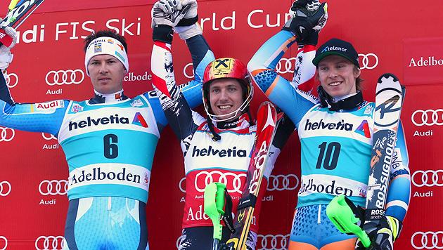 Marcel Hirscher siegt im Slalom von Adelboden (Bild: AP)