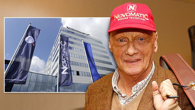 Von Niki Laudas Kapperl lacht jetzt Novomatic (Bild: Zwefo, APA/Helmut Fohringer, krone.at-Grafik)