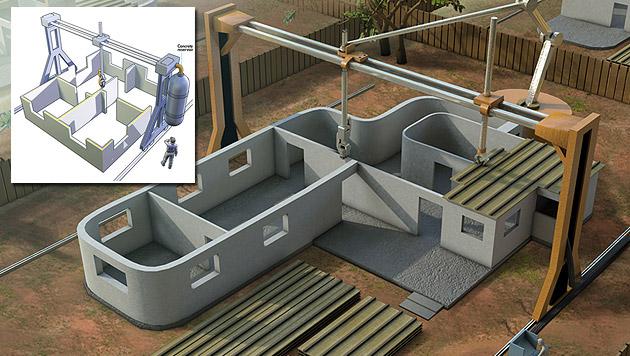 """Forscher will Häuser an einem Tag """"ausdrucken"""" (Bild: Contour Crafting)"""