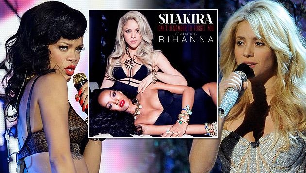 Heißes Pop-Duett von Shakira und Rihanna (Bild: AP, Sony, PAUL BUCK/EPA/picturedesk.com)
