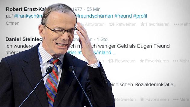 Freund schätzt Arbeiterlohn im Schnitt auf 3.000 € (Bild: Twitter, APA/HELMUT FOHRINGER, krone.at-Grafik)