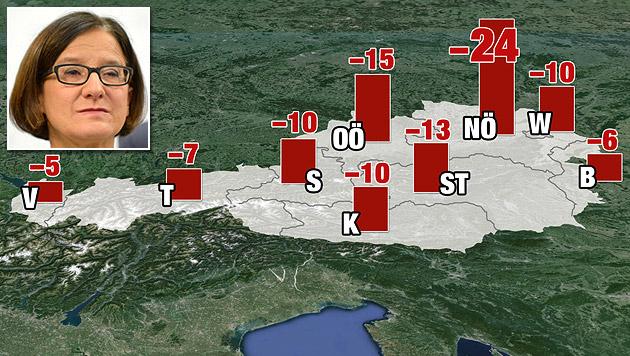 Alle Länder betroffen: Wo Polizeiposten zusperren (Bild: APA/ROLAND SCHLAGER, Krone Grafik, krone.at-Grafik)
