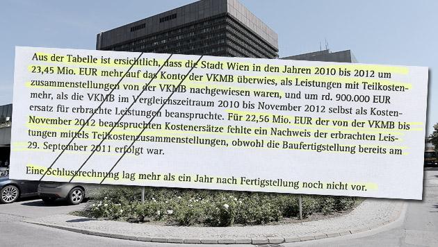 Rechnungshof ortet Chaos bei AKH-Umbaukosten (Bild: Peter Tomschi, Krone, krone.at-Grafik)
