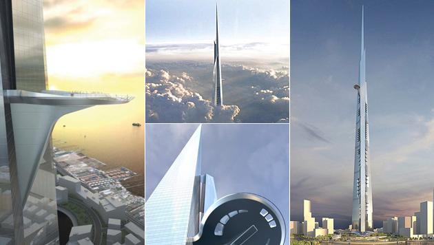 Amstettner bauen am höchsten Turm der Welt mit (Bild: kingdomtower.com, krone.at-Grafik)