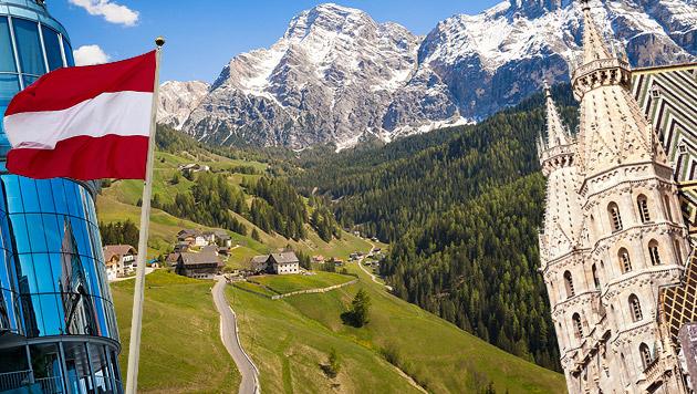Lebenszufriedenheit in Österreich: Platz sieben (Bild: thinkstockphotos.de, krone.at-Grafik)