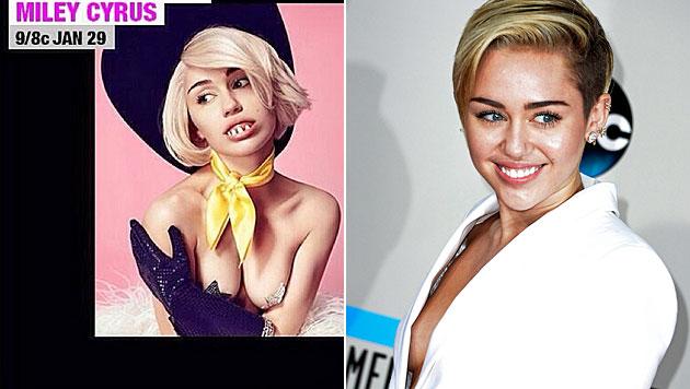 Mileys Oben-ohne-Grusel-Look ist zum Fürchten (Bild: Instagram, AP)