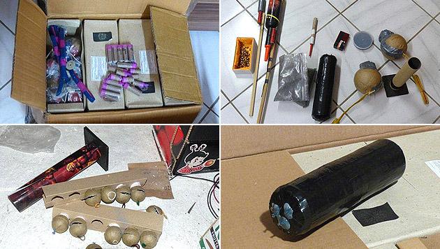 OÖ: Polizei entdeckt illegales Pyrotechniklager (Bild: APA/POLIZEI/PI KÖNIGSWIESEN)