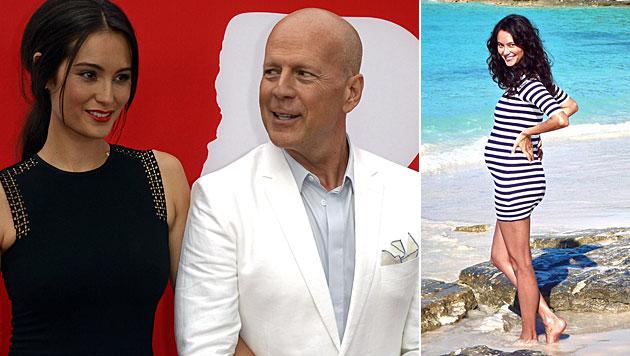 """Bruce Willis"""" schöne Ehefrau zeigt ihren Babybauch (Bild: EPA, Facebook)"""