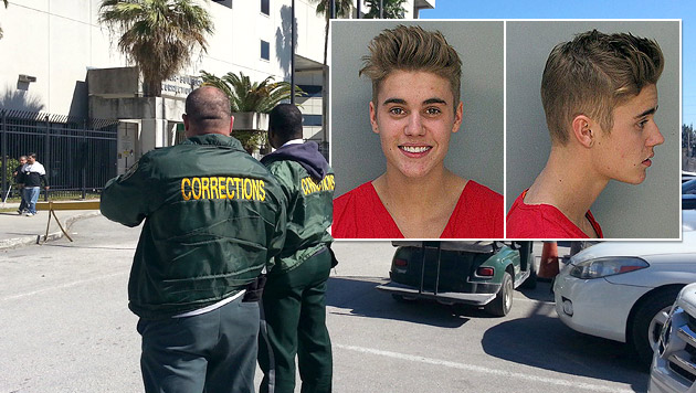 Bieber nach Alko-Fahrt gegen Kaution frei (Bild: AP, APA/EPA/GASTON DE CARDENAS, krone.at-Grafik)