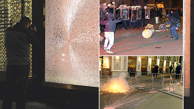 Schaden in Millionenhöhe nach Ball-Demo in Wien (Bild: APA/HERBERT P. OCZERET, krone.at-Grafik)