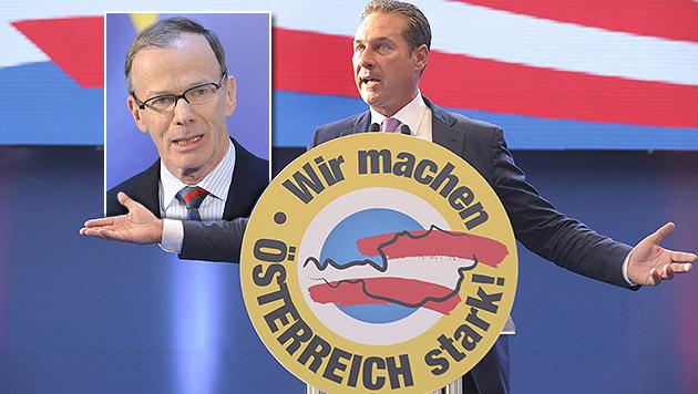 """Strache spottet über """"Querschläger"""" Freund (Bild: APA/HERBERT P. OCZERET, APA/HELMUT FOHRINGER, krone.at-Grafik)"""