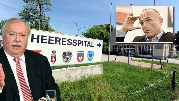 Häupl: Klug soll Heeresspital in Wien verkaufen (Bild: APA, Peter Tomschi, krone.at-Grafik)