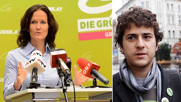 Nach Ball-Krawallen: Glawischnig gegen Junge Grüne (Bild: APA/Helmut Fohringer, Christian Jauschowetz)