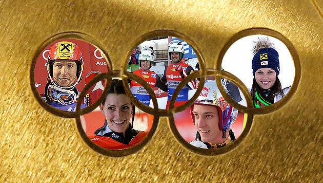 Unser Olympia-Team hat 25 heiße Eisen im Feuer (Bild: AP, EPA, APA/HANS KLAUS TECHT, krone.at-Grafik)