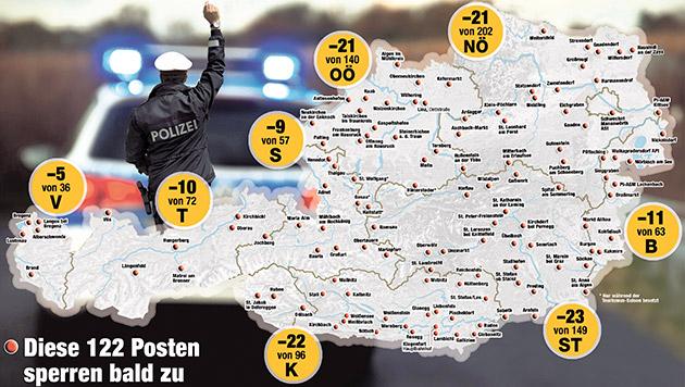 Aus für 122 Polizeiposten - riesige Protestwelle (Bild: Krone.at-Grafik)