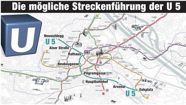 """Entscheidung über Bau von U5 steht kurz bevor (Bild: Wiener Linien, """"Krone""""-Grafik)"""