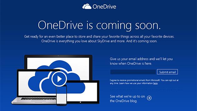 Microsoft benennt SkyDrive in OneDrive um (Bild: preview.onedrive.com)