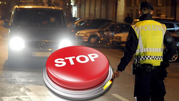 Polizei will Autos künftig auf Knopfdruck stoppen (Bild: APA/HERBERT P. OCZERET, thinkstockphotos.de, krone.at-Grafik)