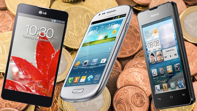 Die Preis-Hits: Mehr Handy fürs Geld geht nicht (Bild: LG, Samsung, Huawei, thinkstockphotos.de, krone.at-Grafik)