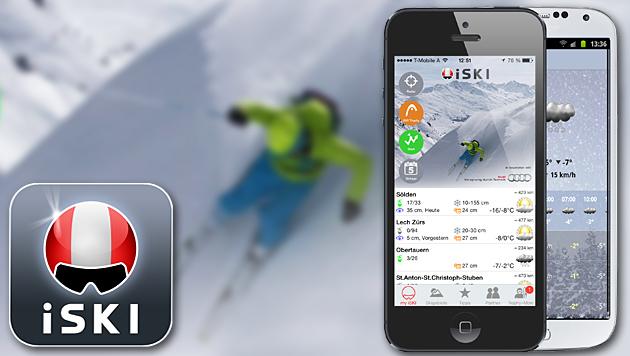 Handy-App verrät, wo es den besten Neuschnee gibt (Bild: iSki, krone.at-Grafik)
