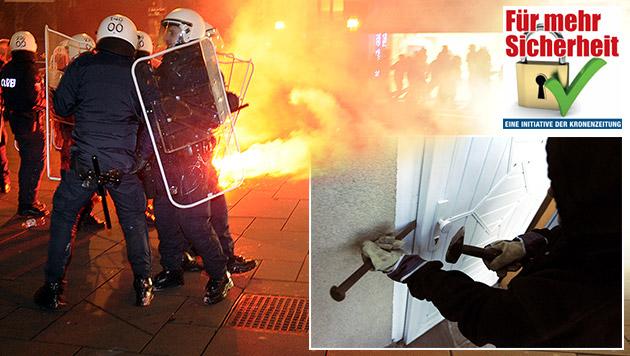 Reaktionen zeigen: Nackte Angst in Österreich (Bild: APA/HERBERT PFARRHOFER, APA/HERBERT P. OCZERET, krone.at-Grafik)