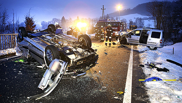 Salzburger bei Frontalkollision schwer verletzt (Bild: APA/MANFRED FESL)