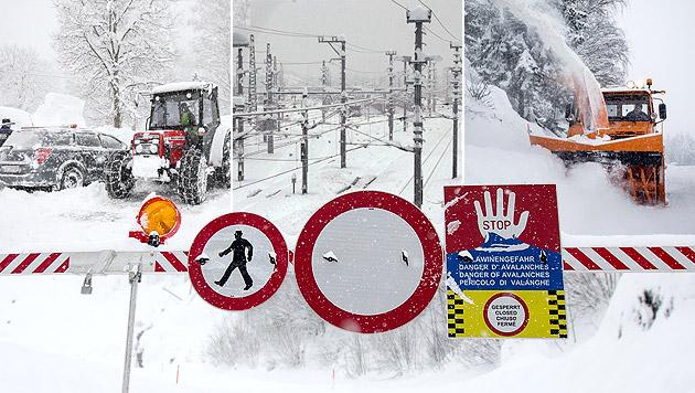 Schneemassen halten Österreichs Süden in Atem (Bild: APA/EXPA/JOHANN GRODER, APA/GERT EGGENBERGER, krone.at-Grafik)