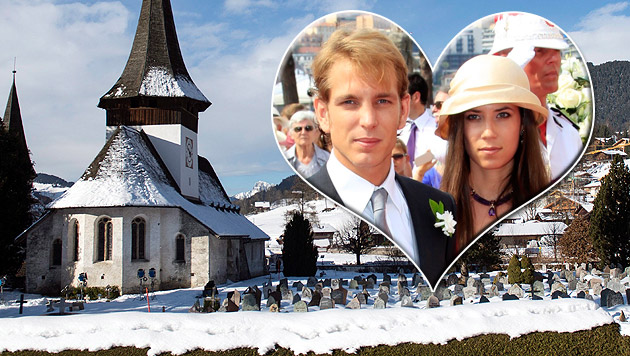 Carolines Sohn Andrea Casiraghi heiratet im Schnee (Bild: APA/EPA/PETER SCHNEIDER, EPA, krone.at-Grafik)