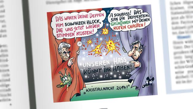 """FPÖ verteidigt """"Kristallnacht""""-Cartoon (Bild: Zur Zeit/Screenshot)"""