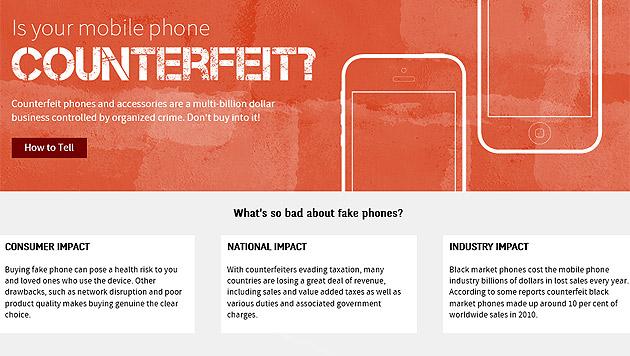 Fast 150 Millionen gefälschte Handys im Handel (Bild: spotafakephone.com)