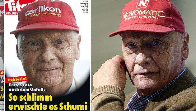 Lauda über bizarres Schumacher-Cover empört (Bild: Titanic-Magazin, APA/HANS KLAUS TECHT)