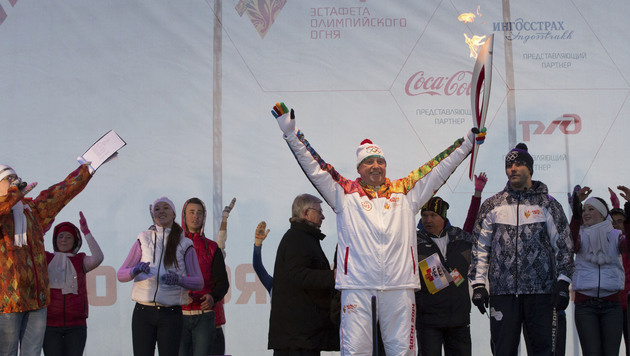 Olympia-Fackel nach 65.000 Kilometern angekommen (Bild: AP)