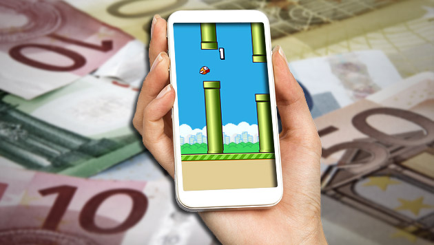 "Hitspiel ""Flappy Bird"" kehrt im August zurück (Bild: thinkstockphotos.de, Google Play Store, krone.at-Grafik)"